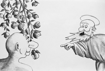 Caricature drawn with a pencil. The expulsion from Paradise