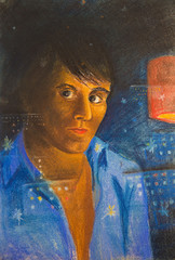 The pastel drawing. Reflection of a young man on a dark window