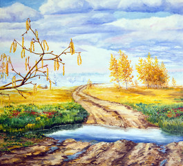 Painting. Landscape with four seasons. Allegory of life and time