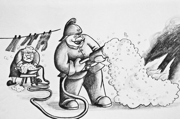 Pencil drawing on paper.Fireman extinguishes fire. Cartoon