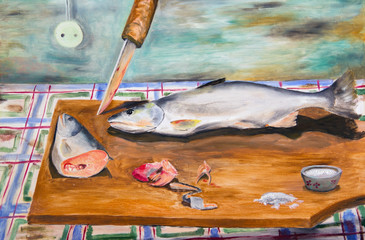 The paintings. Frozen fish on a cutting board