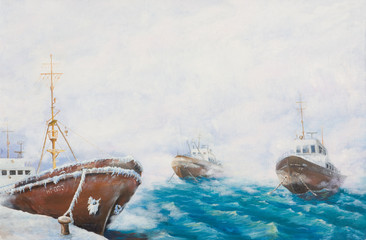 Oil painting. Fishing trawlers in the port