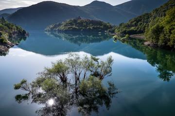Vagli di Sotto village on Lago di Vagli, Vagli lake, Tuscany, It
