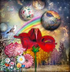 Acrylic Prints Imagination Paesaggio fiabesco e fantastico con hibisco,fiori tropicali e arcobaleno