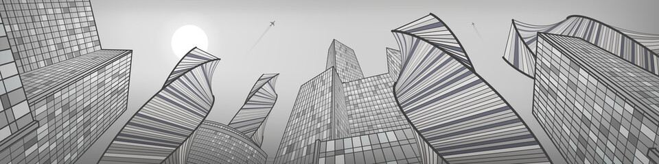 Business building, silver city panorama, urban life, infrastructure illustration, modern architecture, skyscrapers, airplane flying, vector design art