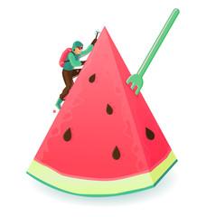 the climber climb the melon mountain.