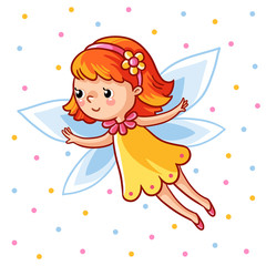 Fairy flying on the wings against the backdrop colored peas. Vector illustration of a girl made in cartoon style.
