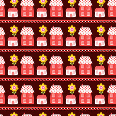 Vector seamless illustration of houses on a brown background. The pattern of the houses. Wallpaper in a cartoon style with flowers and houses.