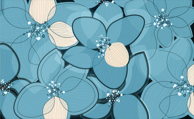 Bluelotus flower petals on art background. Outline vector creative pattern
