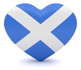 Love Scotland: Scottish Flag Heart, 3d illustration