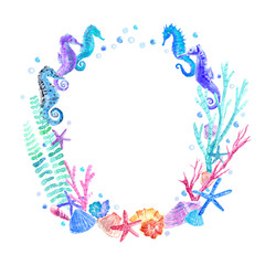 Seahorse, shell, starfish, seaweed, coral and bubbles wreath.Underwater world image on a white background.Watercolor hand drawn illustration.