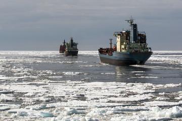 convoy in the Arctic ocean