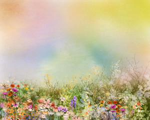 Abstract oil painting flowers plant. Purple cosmos, white daisy, cornflower, wildflower, dandelion flower in fields. Hand painted floral meadow and yellow background. Spring flower nature background