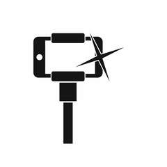 Taking pictures on smartphone on selfie stick icon in simple style isolated on white background. Device symbol