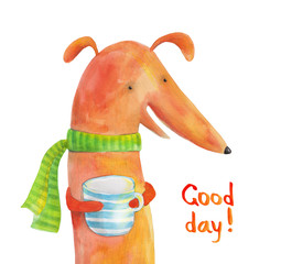 Dog dachshund in scarf with a striped cup. Good day. Watercolor illustration