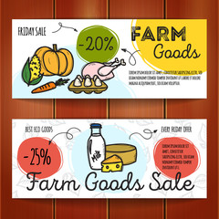 Vector set of discount coupons for farm food.