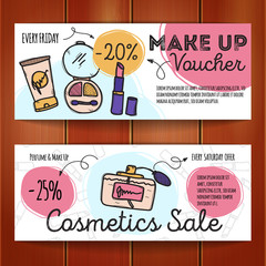 Vector set of discount coupons for make up products and perfumes.