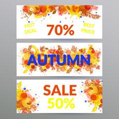 Floral autumn sale web banners.