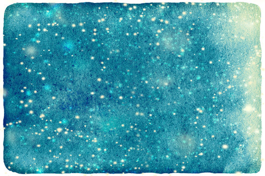 ..Christmas watercolor background with falling snow for your des