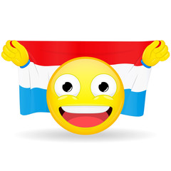Emoji fan holds in hands flag behind his head. Luxembourg flag. Fan cares for his country. Glory spectator bawl emotion. Exult emoticon. Buff of sports games smile vector illustration.