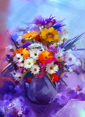 Oil painting flowers in vase. Hand paint still life bouquet of White,Yellow and Orange Sunflower, Gerbera, Daisy flowers. Vintage flowers painting in soft blue and purple color background.
