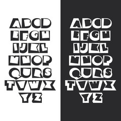 Modern Black and White Bold Font Set Design