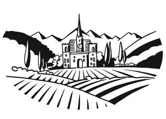 Vineyard Illustration Iconographic Black White Sketched