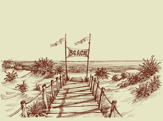 The way to the beach, sea view ahead vector drawing