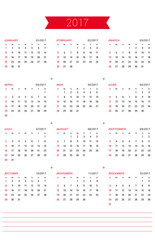 Vector Print Template. Calendar for 2017 Year. Week Starts Sunday. Stationery Design