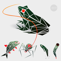vector graphics, illustration for a gaming application, marsh monstrych enemies: frog, a spider, a tadpole, a leech. Design of the triangle, polygon