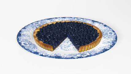 Blueberry pie sliced on a plate, baked dessert isolated on white background