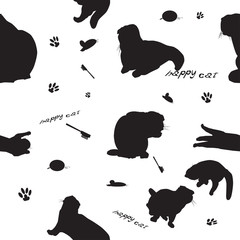 Seamless pattern with cats and cat's stuff
