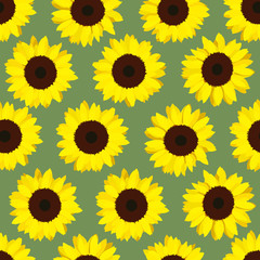 Colorful yellow sunflowers. Seamless pattern. Floral background. End of summer. Vegetarian and vegan product. harvest time. For wallpaper, decoration or printing on fabric.