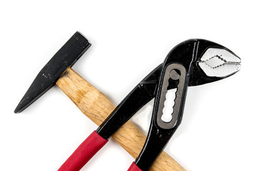 pump pliers and hammer