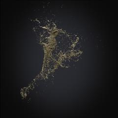 splash gold 3d rendering background