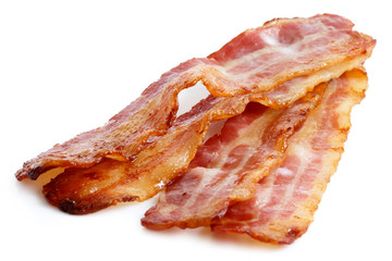 Three strips of fried crispy bacon isolated on white.