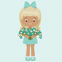 Pretty and happy little girl in a blue dress with bouquet of for