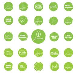 Organic, vegetarian, all natural, vegan, fresh food labels. Green icon pack