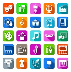 Culture and art, icons, colored, flat. Vector icons with pictures of objects and subjects of culture and art. White figures on a colored background with a shadow.