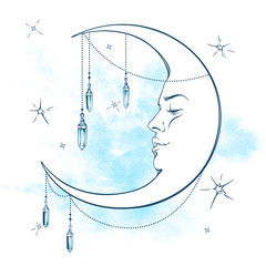 Blue crescent moon with moonstone pendants and stars vector illustration