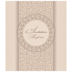 Wedding Invitation cards in an vintage-style beige