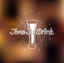 Time to drink. Beer glass. Vector illustration.