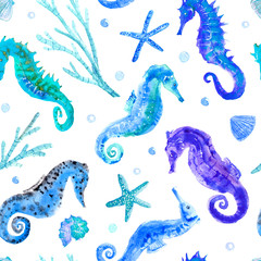 blue seahorse, shell, starfish, coral and bubbles seamless pattern.underwater world image on a white background.watercolor hand drawn illustration.