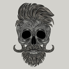 Vector skull of hipster. Abstract silhouette of a human skull made of flowers