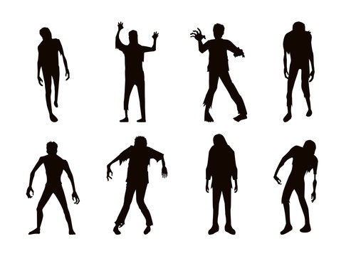Vector zombie collection in silhouette style. Many action.
