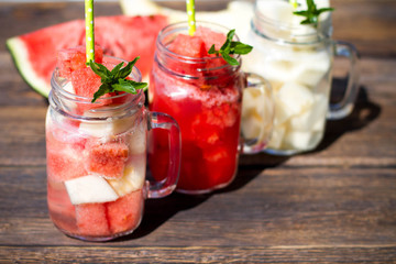 Cocktail with watermelon and melon