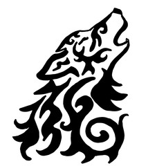 High quality original wolf tattoo illustration isolated on white