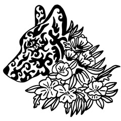 High quality original female wolf tattoo with flowers illustrati