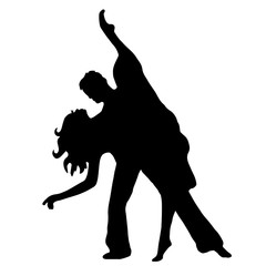 Pair latino dance isolated on white background