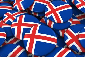 Iceland Badges Background - Pile of Icelandic Flag Buttons 3D Illustration